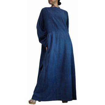 ジョムトン手織り綿のロングドレス No.2 インディゴ(DFS-054-03)