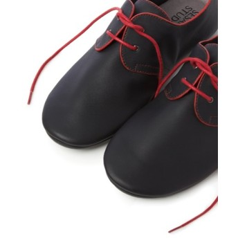 We Love Derby Leather Women Shoes-Blue n Red