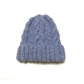 ニット帽 ブルー×グレー