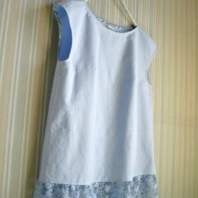裾フランス製レースフレンチ袖PO★ジャスパーブルー 綿