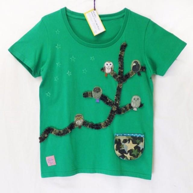 手描きTシャツ・フクロウの森