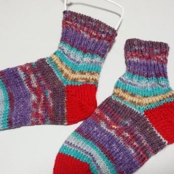 【送料無料】Talisman(Opal)で編んだキッズ用靴下(15cm) 洗濯機で回せます♪