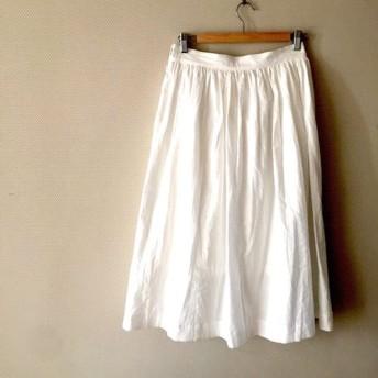 ハーフリネン お好きな色から。裏地付き ハーフリネン 大人可愛いロングギャザースカート
