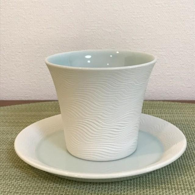 カップ(大)&ソーサー 刷毛目青磁 波