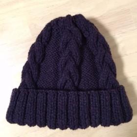 ニット帽 ブラウン 模様編み