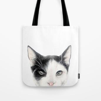 猫、黒白、Miart オリジナルイラストぷりんとトートバッグ