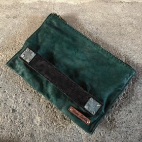 Oiled goat reverse square clutch bag