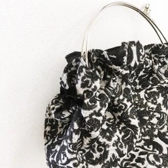 秋冬限定 キラキララメのジャガードガマ口バッグ