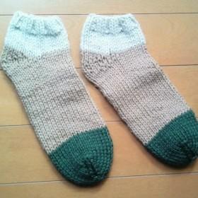 あったか手編靴下 アンクル 生成り×ベージュ×深緑