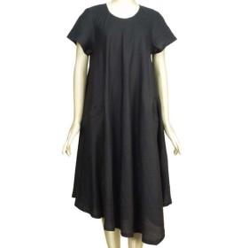 ポーリッシュリネン 裾がアシンメトリーのフレアワンピース ラウンドネック 半袖 濃紺 ネイビー 無地 M Lサイズ