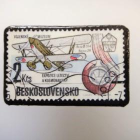 チェコスロバキア 切手ブローチ1525