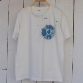 快適な手染めisvaraブルー色素スワール純粋な綿のTシャツシリーズ