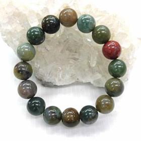 天然石 インディアアゲート12mm玉ブレスレット 内周:約17.4cm 16072025