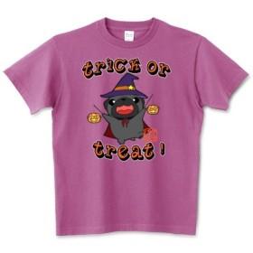 生地色・サイズ選べる!ハロウィン パグ2(黒パグ)Tシャツ