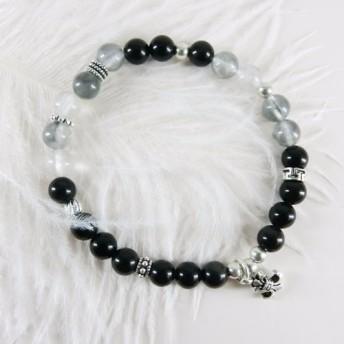 黒灰色の明るさ/ビーズブレスレット/ビーズのブレスレット/手作りオリジナル/天然石、925銀、チベットの銀/越。ユニコーン