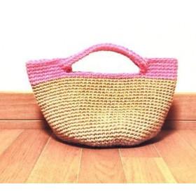ピンクが可愛い麻ひもバッグ♪