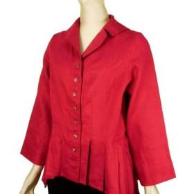 ポーリッシュリネン テーラードカラー 裾がアシンメトリーのジャケット 長袖 赤 無地