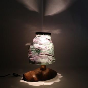 【照明】ケヤキ製:茨城の無形文化財、西丿内和紙仕様の照明(小)