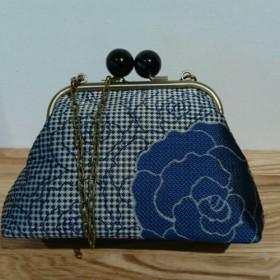 絹織物西陣織がま口バック 撥水加工済み 青薔薇