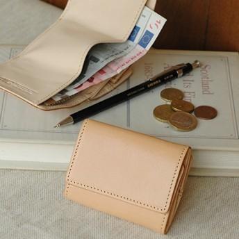 【刻印可】 手のひらサイズのヌメ革三つ折りミニ財布 ベージュ MH1172