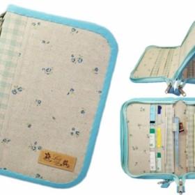 母子手帳ケース M Wファスナータイプ 小花柄 ブルー (B6サイズの母子手帳に対応) ☆4人分収納可能☆