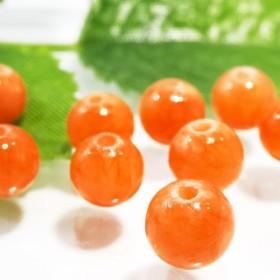 ★30粒★オレンジカルサイト★6mm●天然石