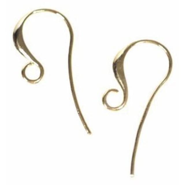 再販【4個入り】優美な曲線のシャープな光沢ゴールド仕上げのピアスフック