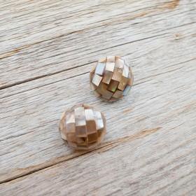 【デザイン貝ボタン(モザイク)】茶蝶貝 #BT143 1穴18mm C/#茶蝶貝 5個セット