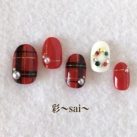 レッド☆赤/チェックネイル/クリスマスネイル