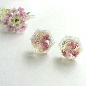 【受注制作】花びらいっぱいの宝石ピアス(イヤリング)
