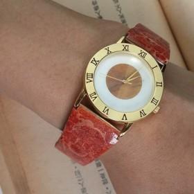天然石 赤珊瑚 タイガーアイ 碟貝 伸縮式 のバンド 腕時計