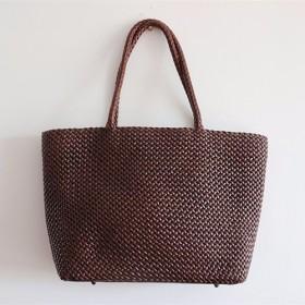 【受注製作】手編み牛革ショルダトートバッグしっかりとした編み込み FB228