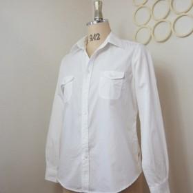 Wフラップポケット天日干しビンテージウォッシュ50ブロードシャツ