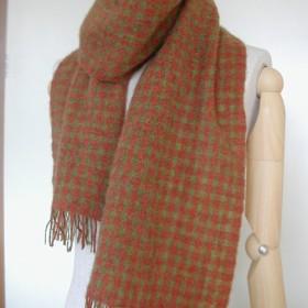 手織りマフラー ココア色×草色 ギンガムチェック