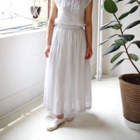 リネンシャンブレーのギャザーロングスカート(ice blue)