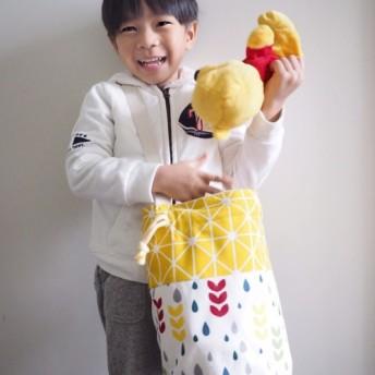 ひまわりシンプルな色の手作りの水滴パターン巾着ラウンドキャンバスバケットバッグ(ハッチバック/背側)