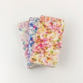 [受注制作]手帳型スマホケース「ピンクとキイロの、木漏れ日」