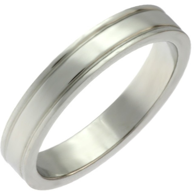【単品】艶消しマットタイプ 2つのラインが入ったリング ステンレスリング指輪名入れ 刻印 表・裏も可能!