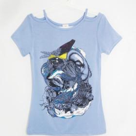 女性モーダルストラップレスのカット肩の長さブラウス/トップデザイン/イラストTシャツ - オーシャンジャーニー