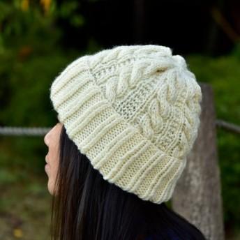 アラン編み帽子