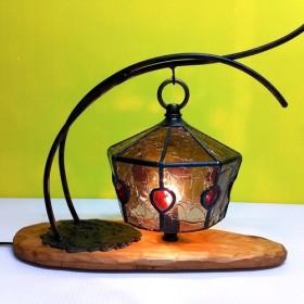 【受注後の製作】クラッケルガラスのアンティーク調 テーブルランプ(ブラウン)