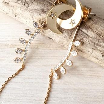 14kgf☆moon & leaf cubicpierced earrings 2way