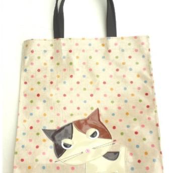 猫 グッズ 雑貨 柄 三毛猫 トートバッグ a4 サブバッグ ビニール 防水 ふきげん猫