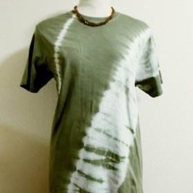 Tシャツ(斜め絞り染・黄緑グレー)