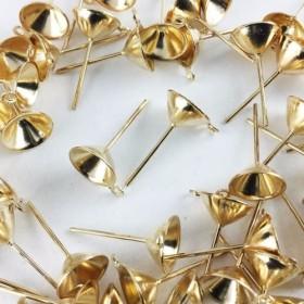 送料無料 ピアスパーツ ゴールド 50個 セット 丸皿 底深 カン付き 皿径8mm ガラスドーム ピアス AP0264