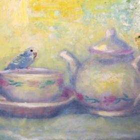 『インコのお茶会』油絵