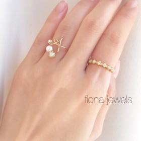 【再販】initial ring×swarovski ring 2set