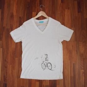 YUIGAHAMA Art T-Shirt  Bike Ivory