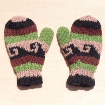 緑の森トーテムオーシャン - 子供/子供の手袋のためのニットピュアウール暖かい手袋/手袋を限ら/手袋/ニット手袋/ボクシンググロ