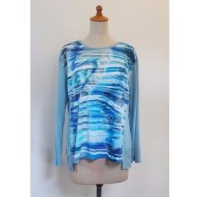 前柄の長袖Tシャツ ブルー 12号サイズ YM-48